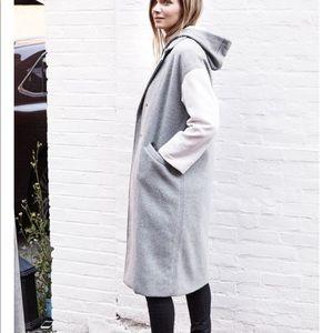 Emerson Fry Drop Shoulder Coat Wool White Sleeve